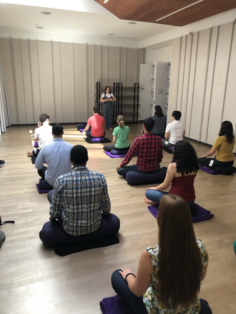 Monica Ortiz discussing mindfulness with a class at Google's New York headquarters